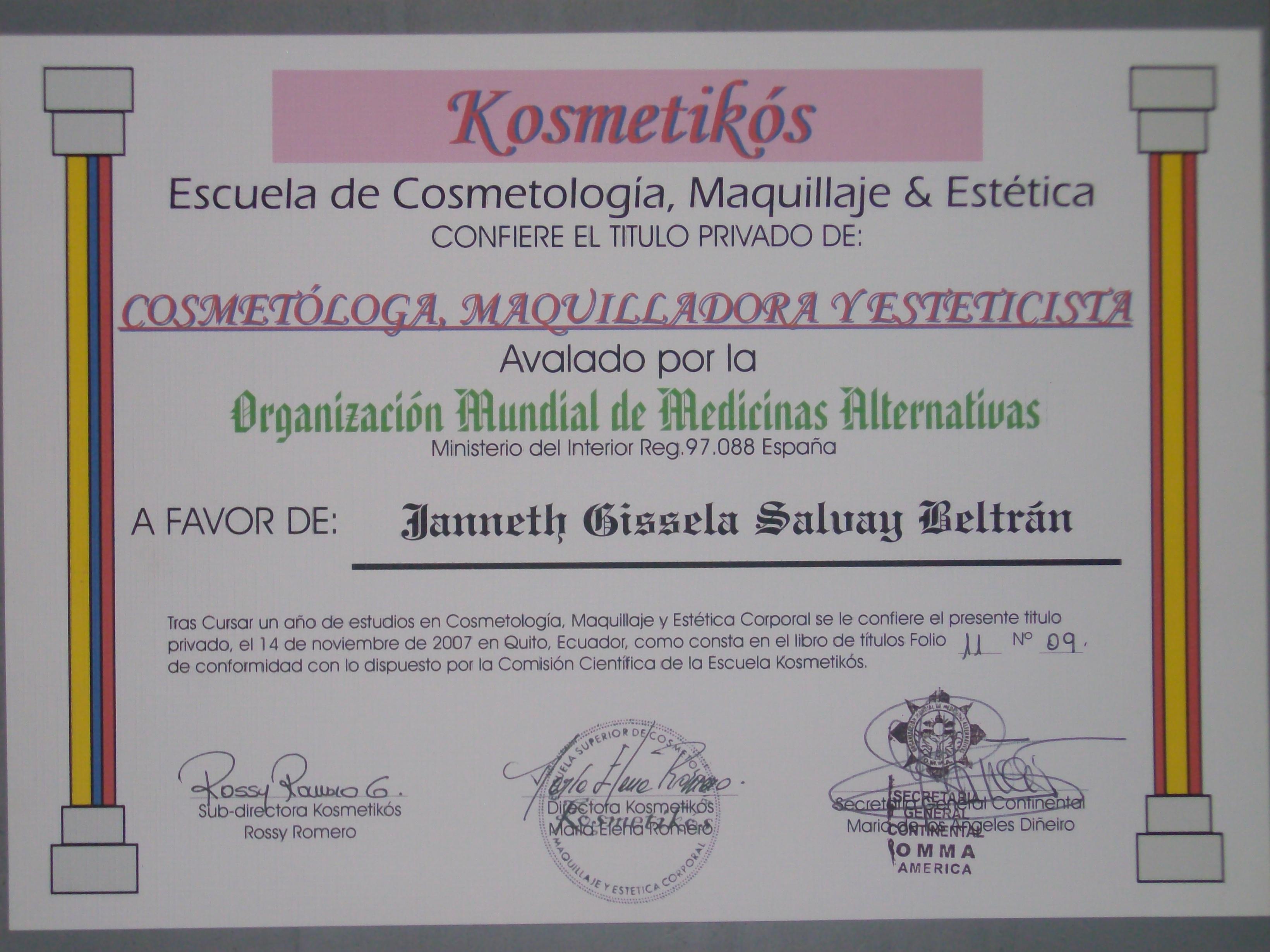Servicios cosmeticos a domicilio productos de belleza for Ministerio del interior legalizar titulo